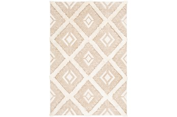 108X144 Rug-High/Low Pile With Diamond Pattern Tan/Cream