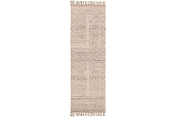 30X96 Rug-Wool And Polyester With Fringe Brown/Khaki