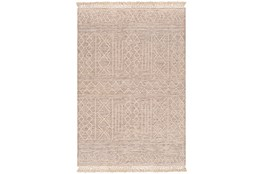 8'x10' Rug-Wool And Polyester With Fringe Brown/Khaki