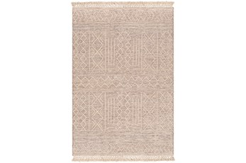 96X120 Rug-Wool And Polyester With Fringe Brown/Khaki
