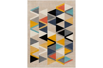 63X87 Rug-Colorful Triangles Multicolor
