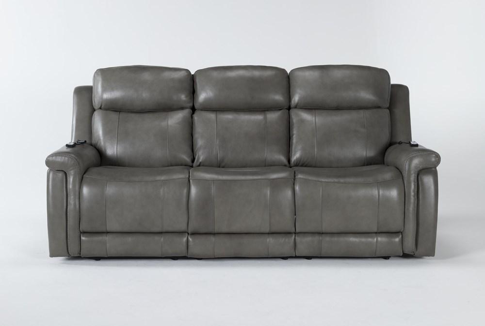 "Serena Grey 87"" Power Reclining Sofa With Power Headrest, Heat And Massage"