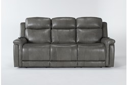 "Serena Grey 87"" Power Reclining Sofa With Power Headrest, Heat And Massage"