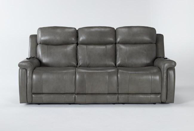 "Serena Grey 87"" Power Reclining Sofa With Power Headrest, Heat And Massage - 360"