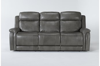 "Serena Grey 87"" Power Reclining Sofa With Power Headrest And Lumbar"