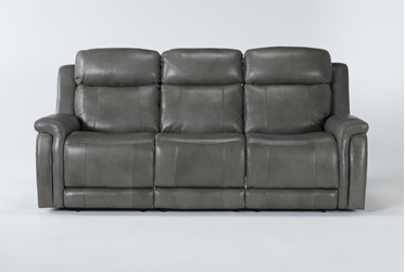 "Serena Grey 87"" Power Reclining Sofa With Power Headrest And Lumbar"
