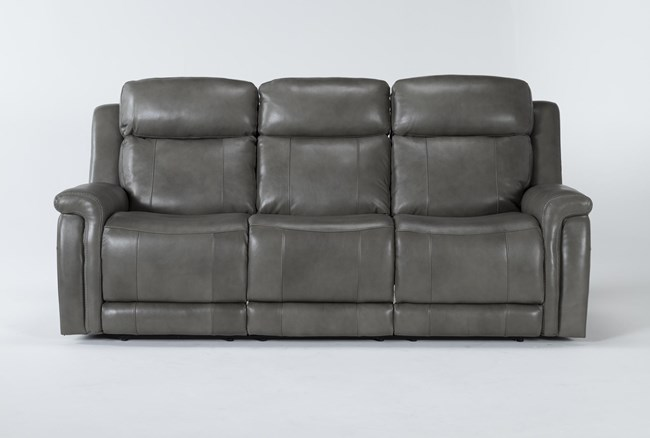 "Serena Grey 87"" Power Reclining Sofa With Power Headrest And Lumbar - 360"