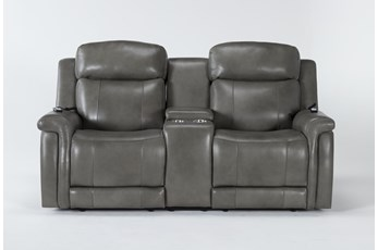 Serena Grey Power Reclining Console Loveseat With Power Headrest, Heat And Massage