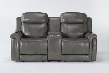 """Serena Grey Power Reclining 77"""" Console Loveseat With Power Headrest, Heat And Massage"""