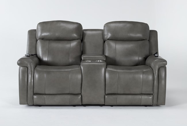 """Serena Grey Power Reclining 77"""" Console Loveseat With Power Headrest, Heat And Massage - 360"""