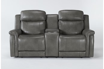"Serena Grey Power Reclining 77"" Console Loveseat With Power Headrest And Lumbar"