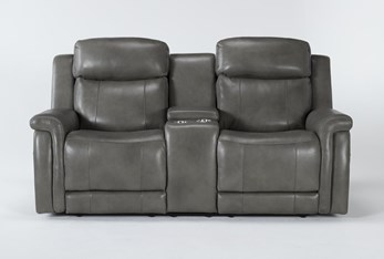 """Serena Grey Power Reclining 77"""" Console Loveseat With Power Headrest And Lumbar"""