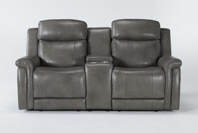 """Serena Grey Power Reclining 77"""" Console Loveseat With Power Headrest And Lumbar - 360"""