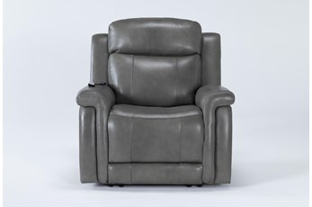 Serena Grey Power Recliner With Power Headrest, Heat And Massage