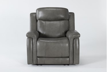 Serena Grey Power Recliner With Power Headrest And Lumbar