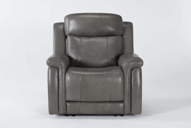 Serena Grey Power Recliner With Power Headrest And Lumbar - 360