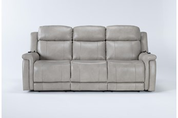 "Serena Taupe 87"" Power Reclining Sofa With Power Headrest Heat & Massage"