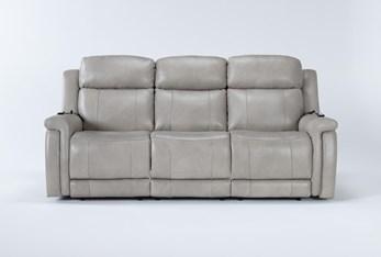 "Serena Taupe 87"" Power Reclining Sofa With Power Headrest Heat & Massage"