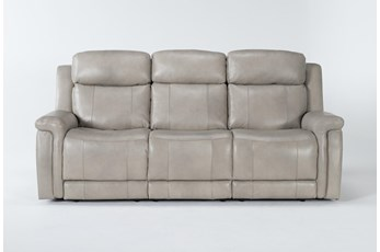 "Serena Taupe 87"" Power Reclining Sofa With Power Headrest & Lumbar"