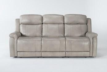 "Serena Taupe 87"" Power Reclining Sofa With Power Headrest & Lumbar"