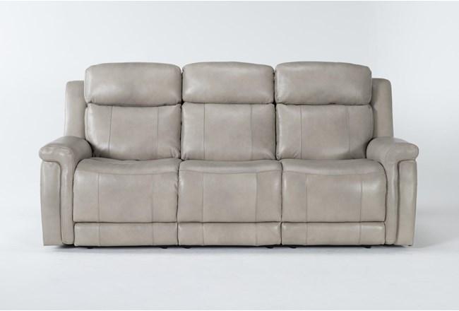 "Serena Taupe 87"" Power Reclining Sofa With Power Headrest & Lumbar - 360"