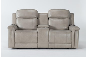 "Serena Taupe Power Reclining 77"" Console Loveseat With Power Headrest, Heat & Massage"