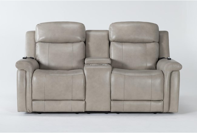 "Serena Taupe Power Reclining 77"" Console Loveseat With Power Headrest, Heat & Massage - 360"