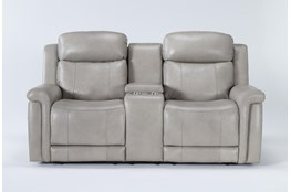 "Serena Taupe Power Reclining 77"" Console Loveseat With Power Headrest & Lumbar"