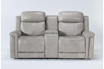 Serena Taupe Power Reclining Console Loveseat With Power Headrest & Lumbar