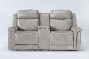 """Serena Taupe Power Reclining 77"""" Console Loveseat With Power Headrest & Lumbar"""