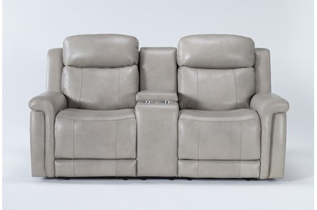 Serena Taupe Power Reclining Console Loveseat With Power Headrest & Lumbar - Main