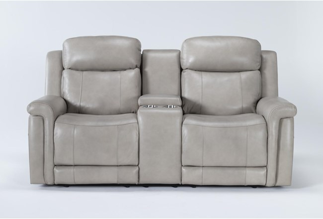"""Serena Taupe Power Reclining 77"""" Console Loveseat With Power Headrest & Lumbar - 360"""