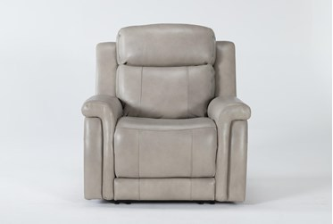 Serena Taupe Power Recliner With Power Headrest & Lumbar