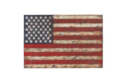 26 Inch Metal American Flag Wall Decor - Main