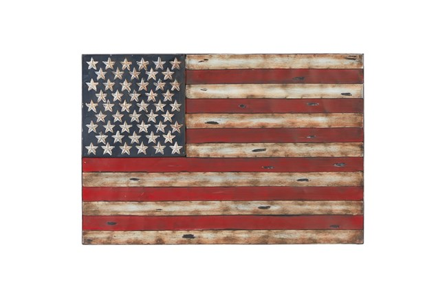 26 Inch Metal American Flag Wall Decor - 360