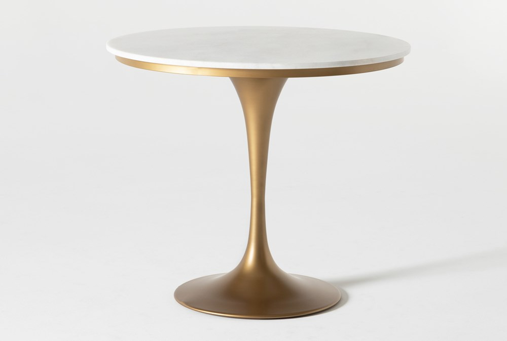 Wendy White Marble Round Dining Table Living Spaces