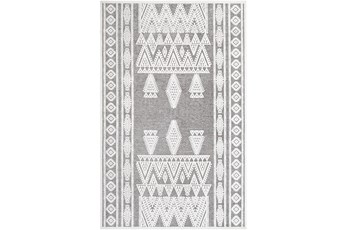 63X87 Rug-Global Inspired Chenille-Cotton Grey/Ivory
