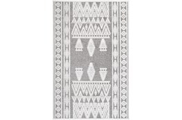"""6'6""""x9' Rug-Global Inspired Chenille-Cotton Grey/Ivory"""