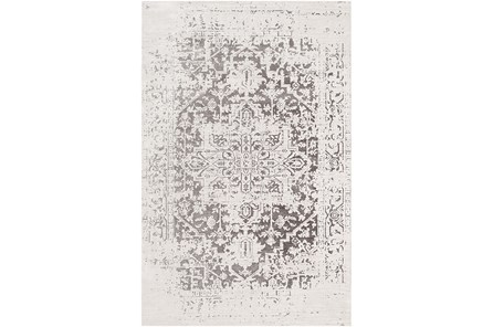79X108 Rug-Global Inspired Chenille-Cotton Grey/Silver