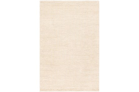 60X90 Rug-Polyester And Wool Woven Cream