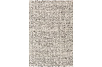 24X36 Rug-Polyester And Wool Woven Charcoal/Ivory
