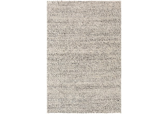 24X36 Rug-Polyester And Wool Woven Charcoal/Ivory - 360