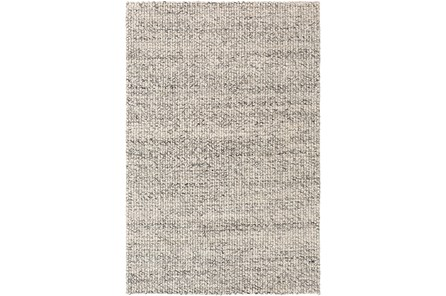 60X90 Rug-Polyester And Wool Woven Charcoal/Ivory
