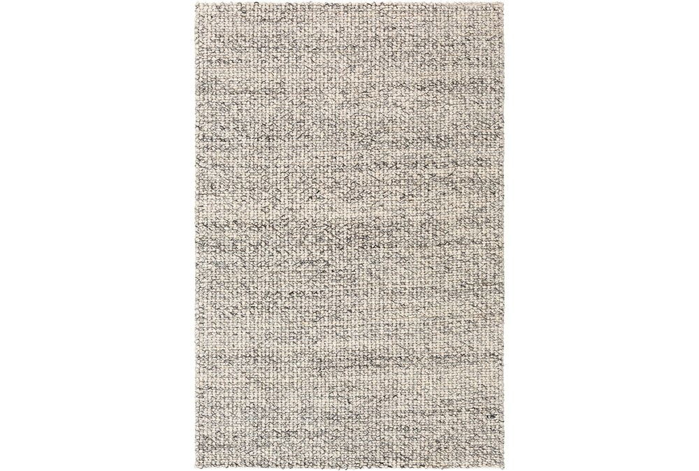 96X120 Rug-Polyester And Wool Woven Charcoal/Ivory