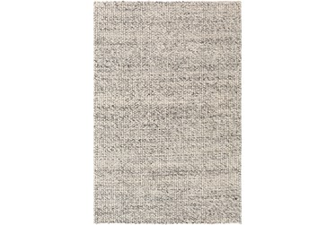 8'x10' Rug-Polyester And Wool Woven Charcoal/Ivory
