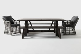 Panama Outdoor 5 Piece Rectangle Dining Set With Koro Chairs