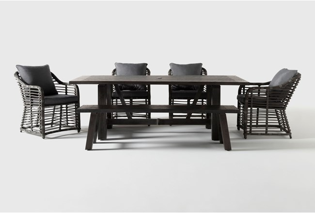 Panama Outdoor 6 Piece Rectangle Dining Set With Koro Chairs - 360