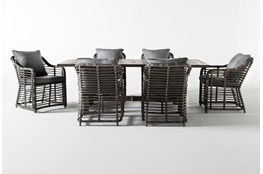 Panama Outdoor 7 Piece Rectangle Dining Set With Koro Chairs