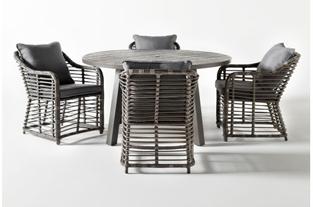 Panama Outdoor 5 Piece Round Dining Set With Koro Chairs