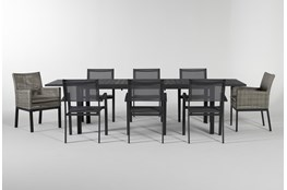 Union Outdoor 9 Piece Extension Dining Set With Woven And Sling Chairs